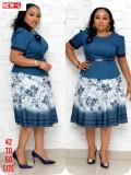 Conjunto de falda de dos piezas con cinturón para la madre de la novia de África