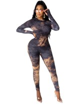 Herbst Party Tie Dye Sexy Bodycon Overall