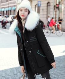 Winter print trekkoorden bont hoodie lange jas