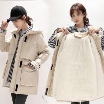 Winter Solid Color Drawstrings Hoodie Long Coat