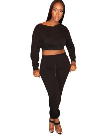 Autumn Casual Solid Plain Crop Top and Track Pants Set