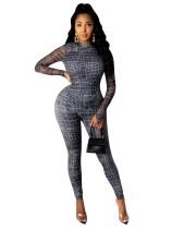 Autumn Print Long Sleeve Party Bodycon Jumpsuit