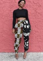 Pantaloni formali con stampa a vita alta Africa