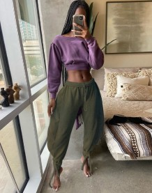 Autumn Solid Color High Waist Puff Trousers