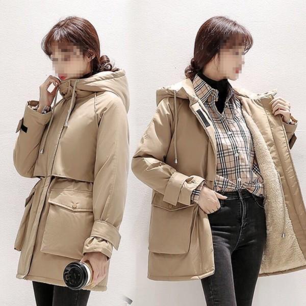Abrigo largo con capucha y cordones de color sólido de invierno