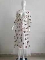 Autumn Strawberry V - Ausschnitt Langes Abendkleid mit Netzärmeln