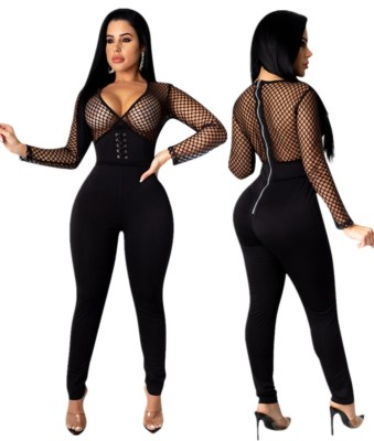 Autumn Party Black Sexy Lace Up Patchwork Bodycon Jumpsuit