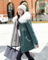 Winter Print Drawstrings Fur Hoodie Long Coat