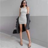 Mini vestido fruncido sin mangas sexy de fiesta