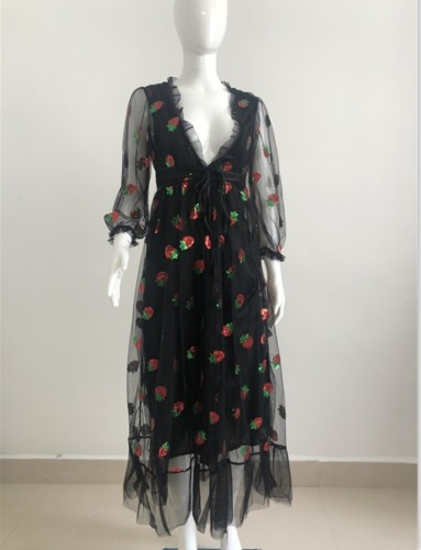 Autumn Strawberry V--Neck Long Formal Dress with Mesh Sleeves