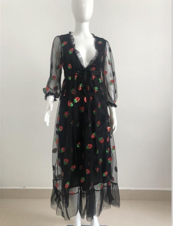 Automne Strawberry - Robe formelle longue à col en V et manches en filet