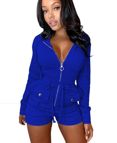 Autumn Casual Solid Plain Zip Up Hoodie Rompers