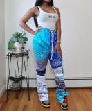 Pantalones de chándal coloridos con estampado de cintura alta de África