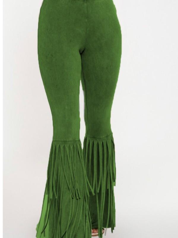Pantalon de soirée à glands de couleur unie d'automne