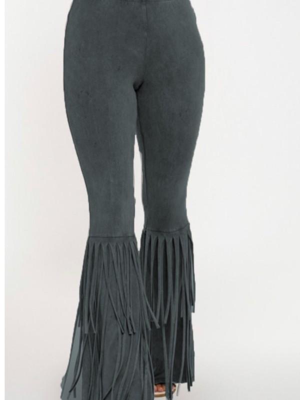 Pantalones de fiesta de borlas de cintura alta de color sólido de otoño