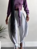 Pantalon bouffant taille haute de couleur unie d'automne
