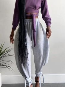 Pantalones de campana de cintura alta de color sólido de otoño