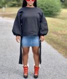 Sudadera con cuello redondo y manga abullonada negra de otoño