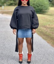 Herbst Black Puff Sleeve O-Neck Sweat Shirt