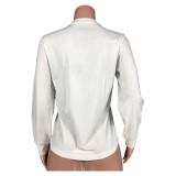 Sweat-shirt blanc à col rond imprimé automne