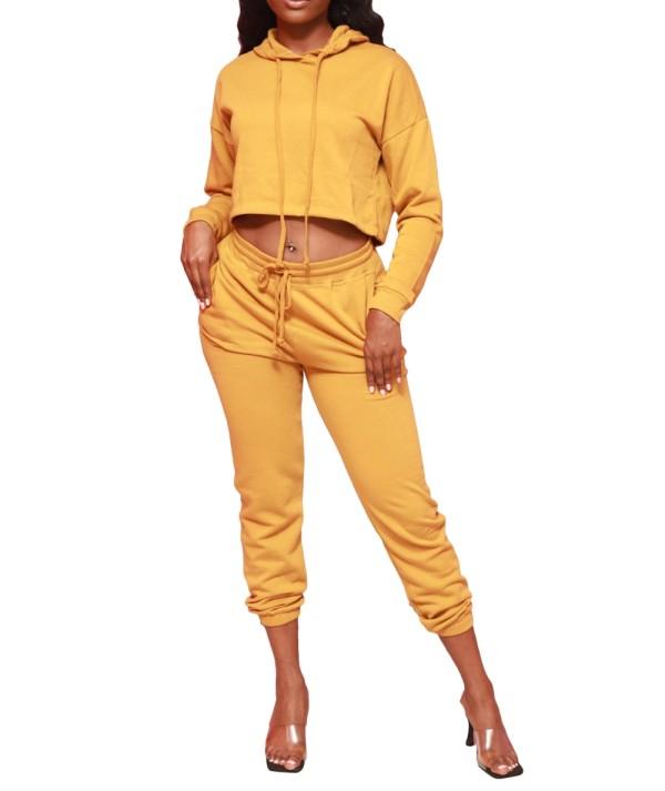 Sudadera con capucha y pantalón de color sólido de otoño