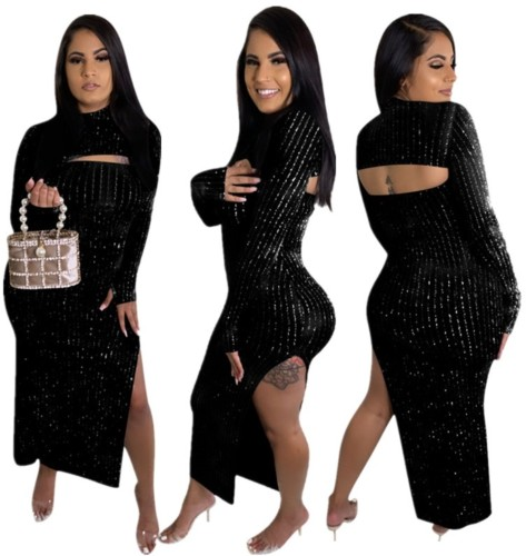 Autumn Occassional Black Cut Out Side Slit Long Gown