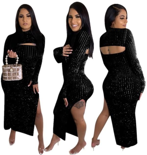 Vestido largo con aberturas laterales en negro ocasional de otoño