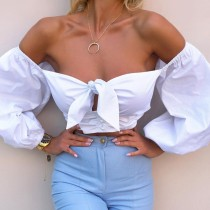 Autumn Sexy Bubble Sleeve Strapless Knotted Crop Top