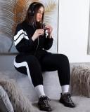Survêtement zippé à rayures blanches et noires Automne