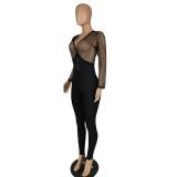 Herfstfeest zwart sexy patchwork bodycon-jumpsuit met vetersluiting