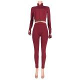 Conjunto de pantalón y top corto ajustado a juego de dos piezas sexy de otoño