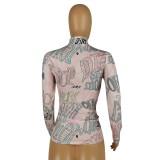 Camisa básica de cuello alto africano con estampado de otoño
