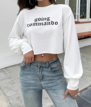 Autumn Street Style Print Round Neck Crop Top