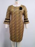 Vestido midi floral de madre de la novia africana