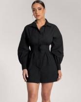 Herbst Schwarz Bubble Sleeve Sexy Bluse Kleid
