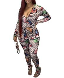 Autumn Butterfly Print Zip Up Bodycon Jumpsuit