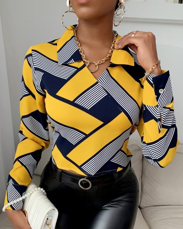 Herfst Office Geommetrische elegante blouse met V-hals