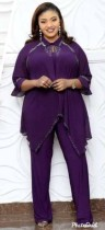 Plus Size African Mother Mature Zweiteilige Herbst Chiffon Top und Hosen Set