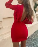 Autumn Party Red Bubble Sleeve Ruched Mini Dress