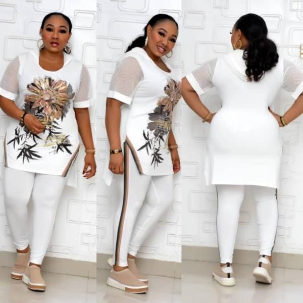 Conjunto de pantalón y top floral de verano de dos piezas para madre africana de talla grande