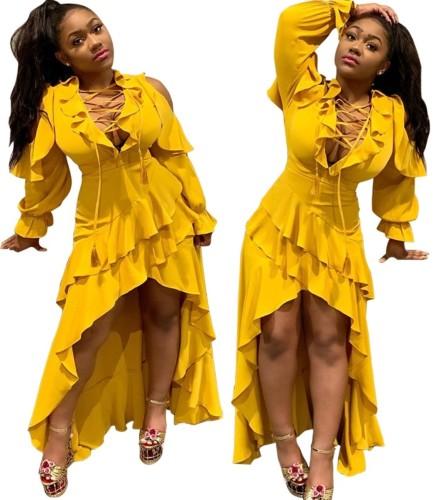 Autumn Party Lace Up Ruffles Irregular Long Dress