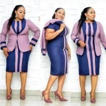 Robe mi-longue africaine à manches courtes et à manches courtes pour mère de la mariée avec veste rose assortie