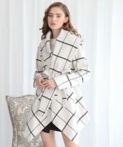 Winter Turndown Collar Wrapped Irregular Plaid Coat mit Gürtel