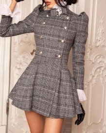 Vestido de inverno xadrez vintage skater
