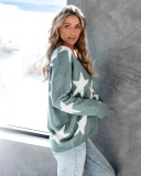 Autumn Stars Print V-Neck Loose Sweater Top