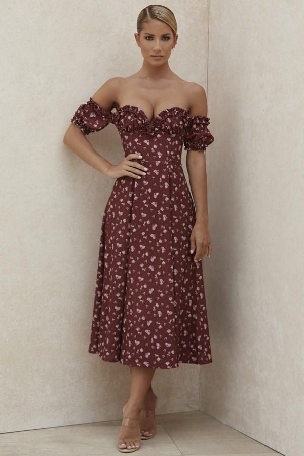 Vestido de fiesta floral sin tirantes vintage romántico de verano