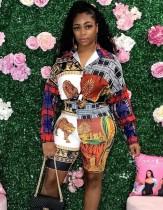 Camicetta e pantaloncini con stampa colorata africana autunnale