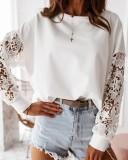 Camisa blanca con cuello de rosca de otoño y mangas ahuecadas