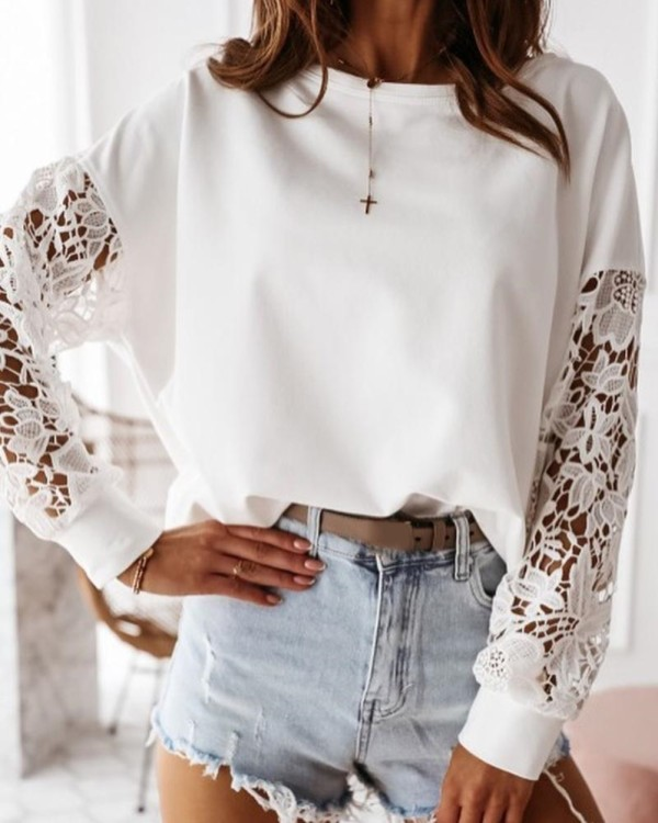 Autumn Screw Neck White Shirt with Hollow Out Sleeves