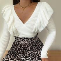 Top in maglia con scollo a V bianco autunnale